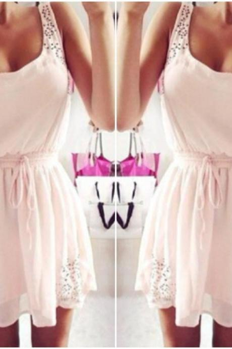 Cute And Sexy Pinkish White Sleeveless Dress