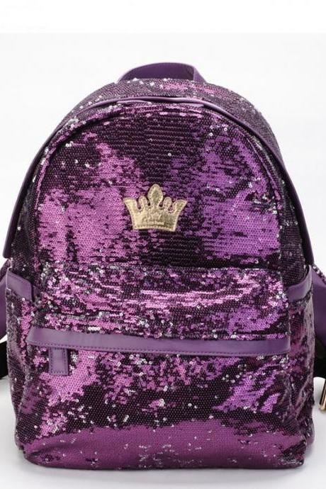 4 Colors Crown Sequins Backpack