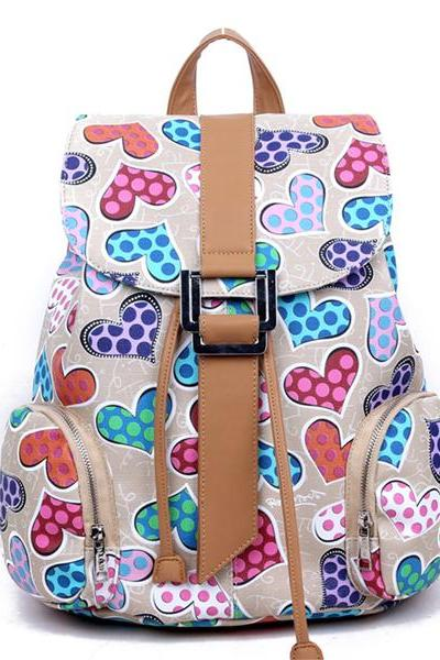 Women's Full Multicolour Hearts Print PU School Bag Travel Backpack 042314