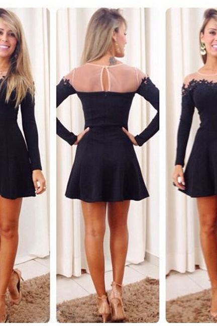 Black Lace Patchwork Design Long Sleeve Dress