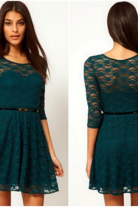 Half Sleeve Deep Green Lace Dress