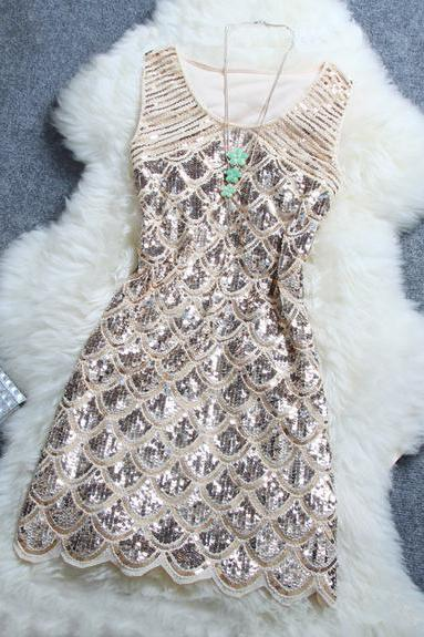 Stylish Atmosphere Beaded Sequin Dress