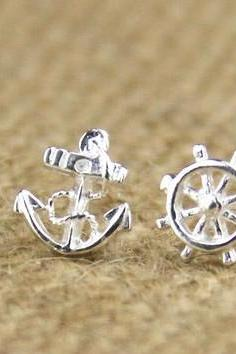 Sterling Silver Anchor Earring Stud