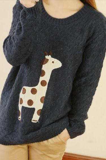 Black Cute Giraffe Pattern Sweater