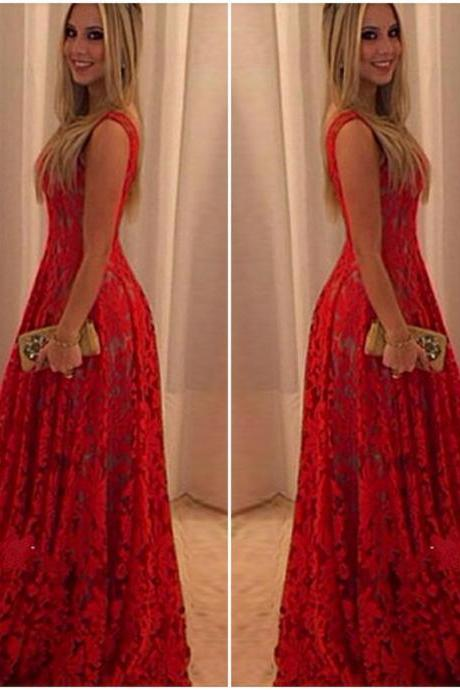 Gorgeous Red Ankle Length Sleeveless Lace Dress