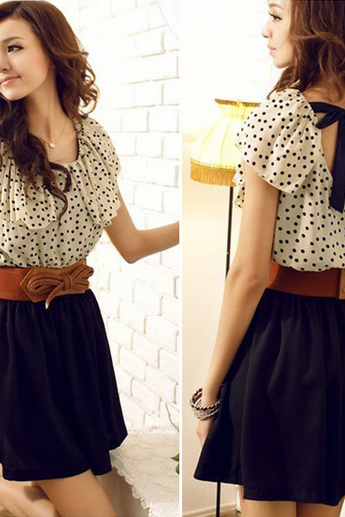 Dot waisted dress
