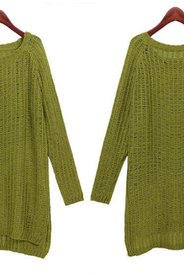 Women's new wool sweaters big baggy code split ends in long sleeved sweater