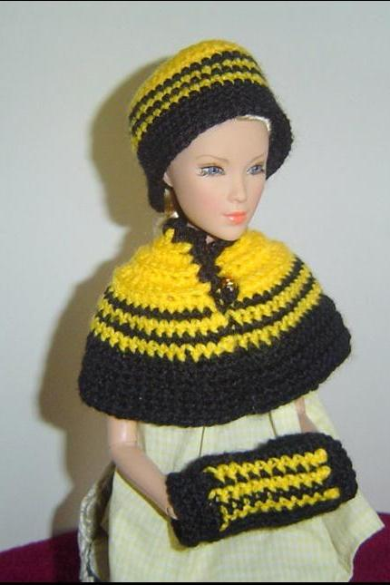 Victorian 3PC Caplet Flapper Beanie Muff Set, Fashion Royalty and other 16inch Dolls 0054
