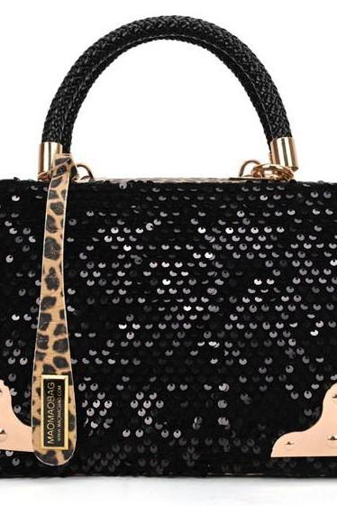 Stylish Black And Leopard Print Fashion Hand Bag