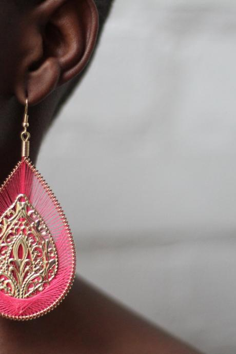 Pink and Gold Drop Earrings Fashion Earrings