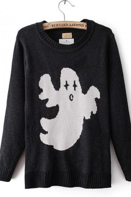 Black Long Sleeve Ghost Pattern Knit Sweater