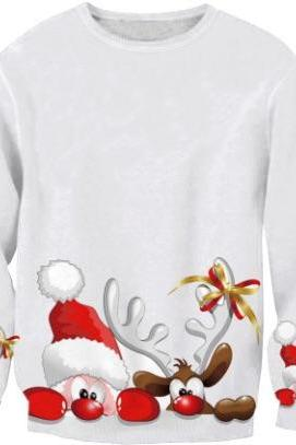 Christmas Sweater Santa Claus Printed Sweatshirt
