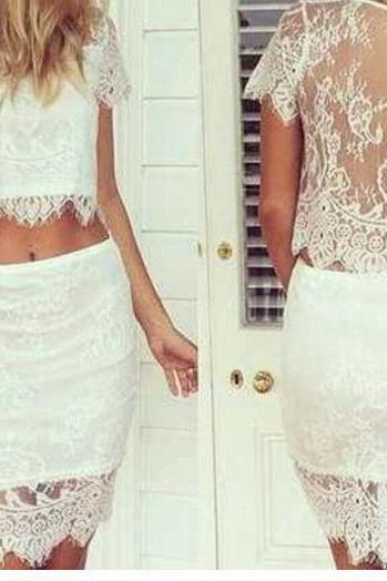 Fashion Lace Two Piece Dress