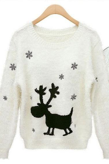 Cute Christmas Sweaters Snow Elk Jumper Sweater Thicken