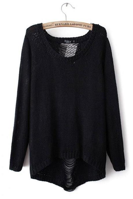 Knitted Scoop Neck Sweater Featuring Distressing Detailing and High Low Hem