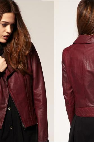 HANDMADE WOMEN MAROON LEATHER JACKET, WOMENS MAROON COLOR LEATHER JACKETS