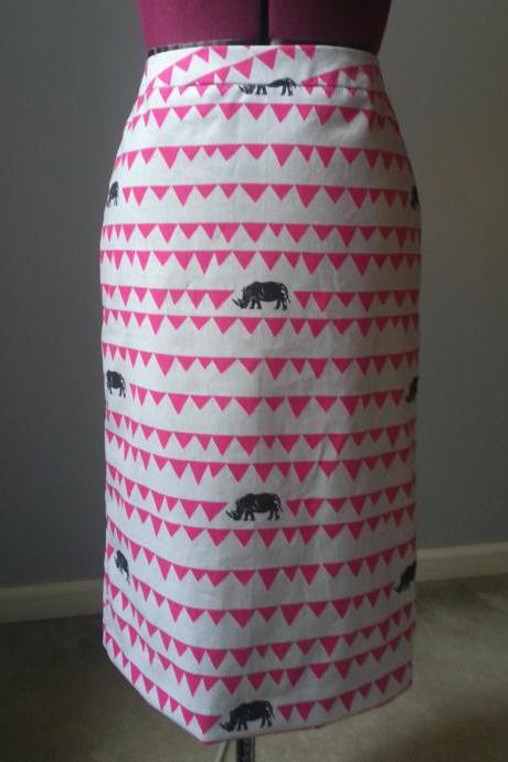 Grey Rhino Japanese Cotton Pencil Skirt, Pink and Grey African Style Print, Straight Skirt