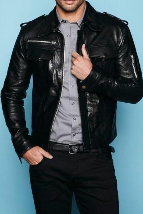 HANDMADE MENS LEATHER JACKET, BLACK BIKER LEATHER JACKETS, MEN'S LEATHER JACKET