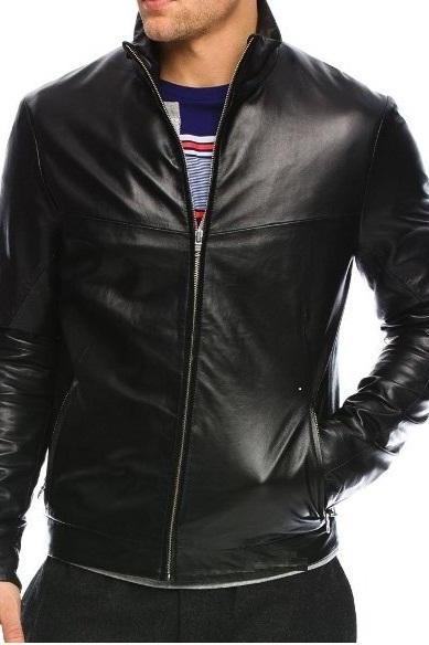 HANDMADE MENS BLACK COLOR LEATHER JACKET, MEN BOMBER GENIUNE LEATHER JACKET