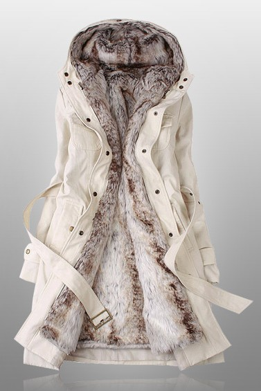 Sexy Beige Parka With Faux Fur Inner