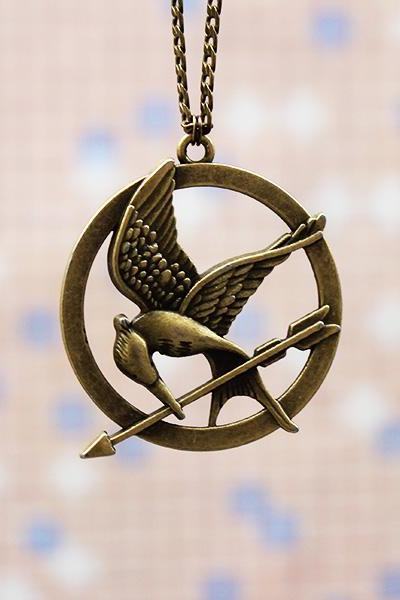 Mockingjay pin necklace,3D bronze Hunger games necklace,hipster jewelry,catching fire necklace,bird necklace,high quality necklace