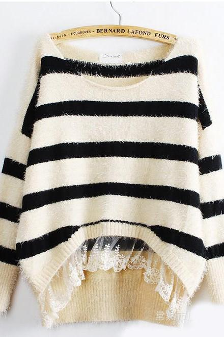 Fashion New Women Striped Lace Sweater - Black