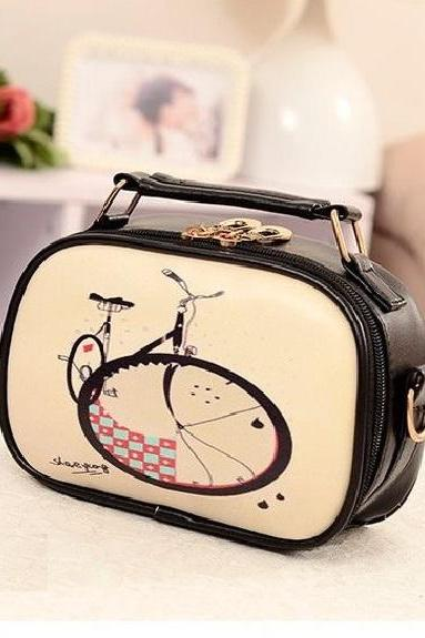 Big wheel pattern messenger girl handbag