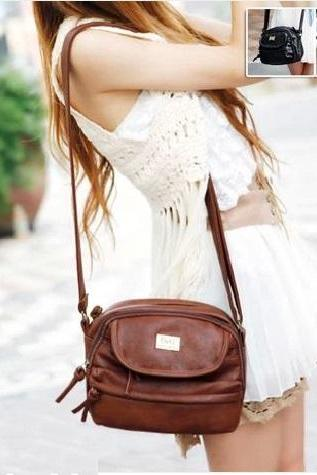 Casual brown PU leather woman handbag