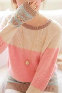 Pink Cable Sweater With Bow And Heart Print