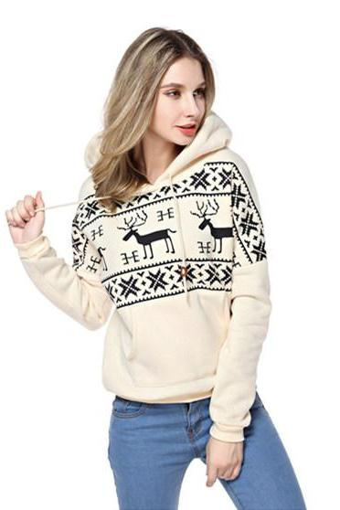 Woman's Deers And Stripes Pattern Hoodie Sweatshirt