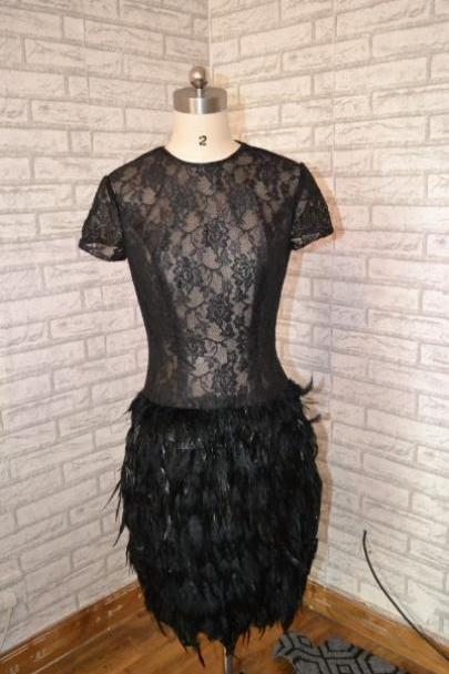 Black Prom Dress,Lace Prom Dress,Short Sleeves Prom Dress,Short Sleeves Prom Dress, formal Prom Dress,Feather Prom Dress,Mother of the bride dress
