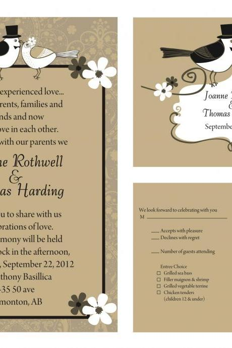 50 Custom Wedding Invitation and matching RSVP cards