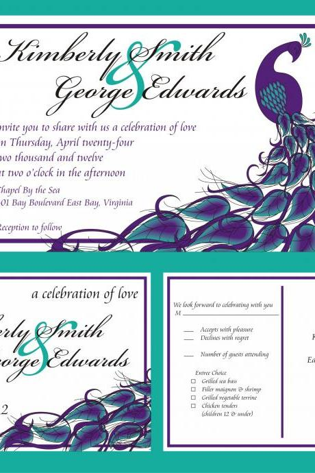 50 Personalized Wedding Invitations and matching RSVP cards