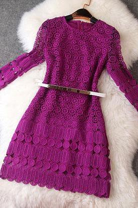 Lace Hollow Flower Purple Dress with Belt