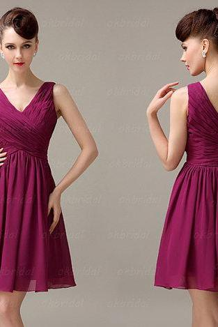 off shoulder bridesmaid dress, plum bridesmaid dress, purple bridesmaid dress, chiffon bridesmaid dress, short bridesmaid dress, CM072