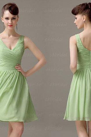 short green bridesmaid dress, off shoulder bridesmaid dress, chiffon bridesmaid dress, short prom dress, chiffon prom dress, CM052