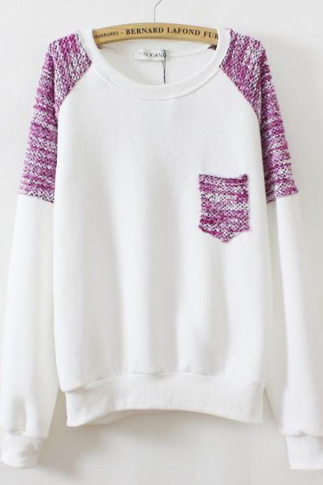 round neck thick fleece sweater AD813B