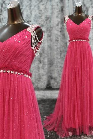 Sparkle Rose Red Chiffon A-line Floor Length Prom With Beadings and Sequins, Long Prom Dresses, Handemade Prom Dresses 2015