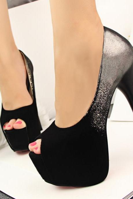 Fashion sexy night suede shoes spell color fish head high heels QQ1208BF