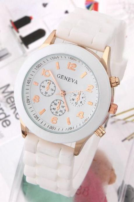 Rubber sport school white girl trendy watch