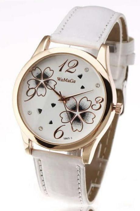 Teenage flowers white leather band girl watch