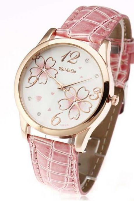 Teenage flowers pink leather band girl watch