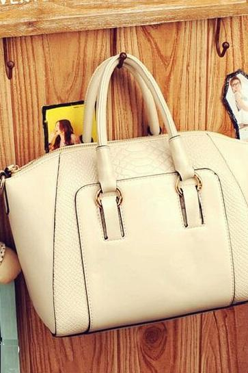 Fall fashion PU leather tote white woman handbag