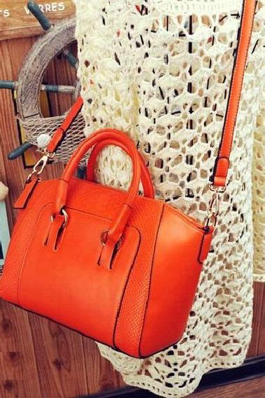 Fall fashion PU leather tote orange woman handbag