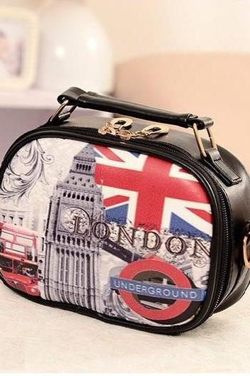 London calling Pu leather messenger girl handbag