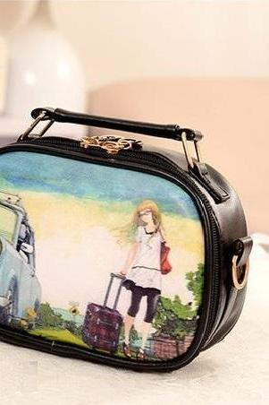 Europe trip messenger PU leather girl handbag