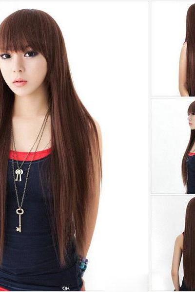 Nice Brown Long Straight Hair Wigs