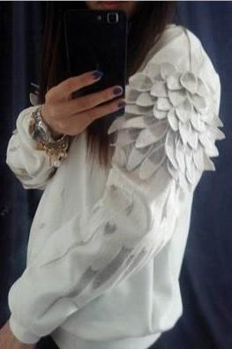 Women's hoodie sweater fashion wings QQ1208DE