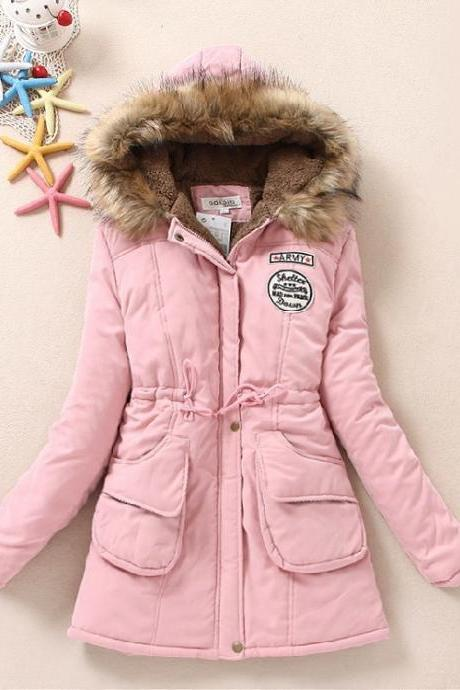 Hooded cotton padded hooded fur collar QQ1208DF