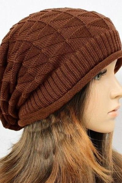 Winter casual brown wool cotton unisex hat